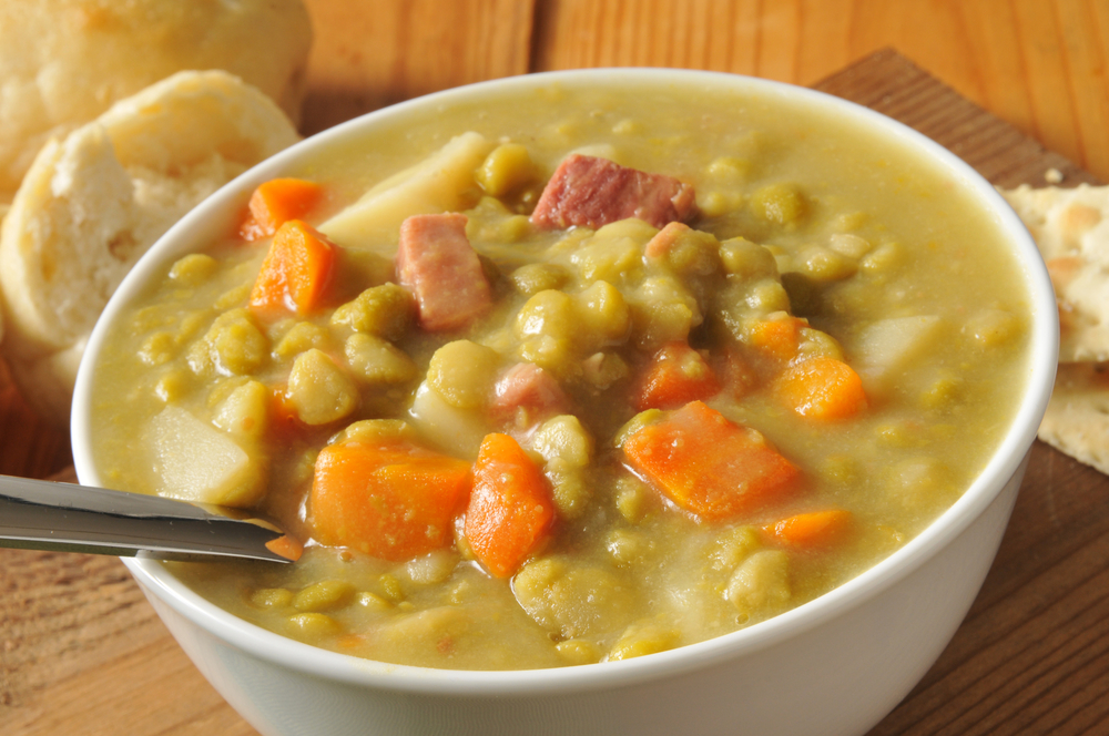 Split pea soup with sínglino (Greek smoked pork flavored with sage ...